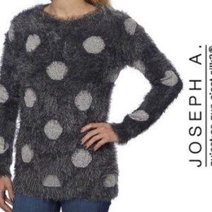 Joseph A. XL Fuzzy polka-dot sweater